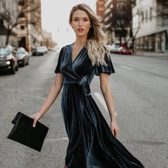 54edad280c Garland Velvet Wrap Dress - Grey